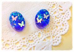 【人気商品】オパールの空と蝶のピアス(イヤリング)Lサイズ画像1