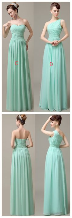 Simple Mint Chiffon Bridesmaid Dresses,A-line Bridesmaid Dresses,Handmade Bridesmaid