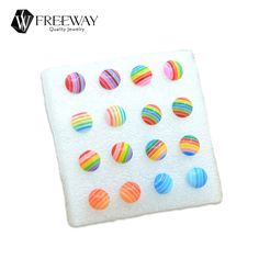 2016 New Fashion Rainbow Piercing Kids Stud Earrings Sets Round/Square/Love Colored Stripes Cheap Resin Children's Earrings Lot