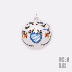 hand painted bauble with folk ornaments