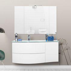 Mobile sospeso per arredo bagno contemporaneo finitura laccata lucida new design