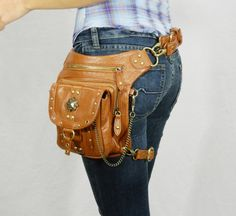 Outlaw Pack - (Brown) Thigh Holster, Protected Purse, Shoulder Holster, Handbag, Backpack, Purse, Messenger Bag, Fanny Pack via Etsy