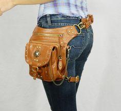 Outlaw Pack - (Brown) Thigh Holster, Protected Purse, Shoulder Holster, Handbag, Backpack, Purse, Messenger Bag, Fanny Pack via Etsy