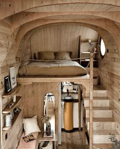 Tiny wood home with terrace Building A Tiny House, Tiny House Plans, Tiny House On Wheels, Small Space Living, Tiny Living, Small Spaces, Tiny House Mobile, Cabin Kitchens, Little Cabin