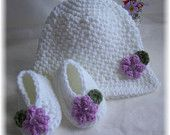 Crochet Newborn Hat and Shoes Set. $10.00, via Etsy.