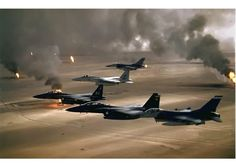 Operation Desert Storm, a.k.a the Gulf War, was the war waged by the UN-authorized coalition forces, led by the US, against the Iraqi invasion of Kuwait. The war marked a change in the way news was delivered, as events were broadcast live from the front lines straight to the homes of US civilians. It was nicknamed the Video Game War for this reason.