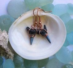 Shark tooth earrings beach jewelry ocean by GlassFromTheGrotto