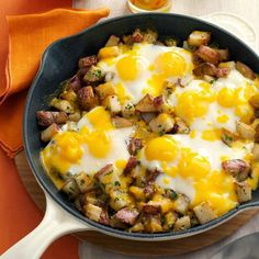 Welcome Home: Baked Cheddar Eggs & Potatoes