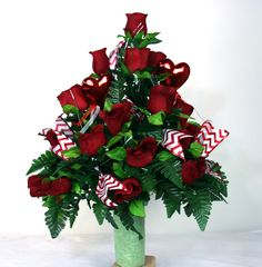 Valentine' Day Red Roses With Red and White Chevron Ribbon Cemetery Arrangement by Crazyboutdeco on Etsy