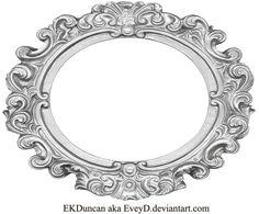 Ornate Silver Frame - Wide Oval by EveyD.deviantart.com on @deviantART
