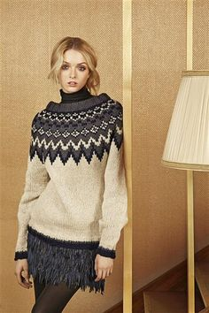 """Ravelry: Nr 7 """"Polarstjerne"""" damegenser pattern by Sandnes Design Diy Crochet And Knitting, Vintage Knitting, Knitwear Fashion, Knit Fashion, Norwegian Knitting, Icelandic Sweaters, Hand Knitted Sweaters, How To Purl Knit, Fair Isle Knitting"""