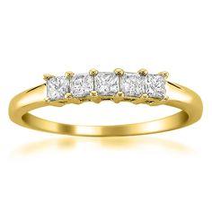 Montebello Jewelry 14k Gold 1/2ct TDW Princess-cut 5-Stone Wedding Band