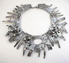 Necklace | Rachel Gera.  Sterling, pearls, garnets.  ca. 1970s, Israel