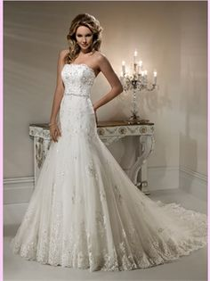 White A Line Beading Lace Wedding Dress- very pretty