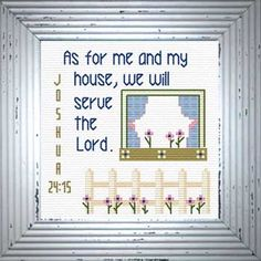 Cross Stitch Bible Verse Casa Serviremos Josue As for me and my house, we will serve the Lord, Cross Stitch Borders, Cross Stitch Samplers, Cross Stitch Charts, Cross Stitch Designs, Cross Stitch Embroidery, Cross Stitch Patterns, Lucas 2, Bible Covers, Favorite Bible Verses
