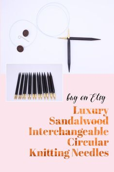 These beautiful interchangeable circular knitting needles are made from gorgeous dark sandalwood and are exceptionally light and lovely to knit with. The cables - available in 40, 60, 80 and 100 centimetres - are very flexible which makes them perfect for the magic loop technique. Available in multiple sizes. Wooden Knitting Needles, Magic Loop, Knitting Accessories, Dark, Luxury, Unique Jewelry, Handmade Gifts, Beautiful, Etsy