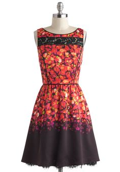Glassblown Away Dress - Sheer, Mid-length, Red, Purple, Black, Multi, Floral, Lace, Pockets, Party, A-line, Sleeveless, Boat, Luxe