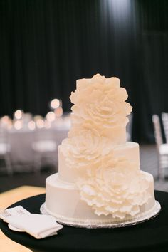 Ivory Wedding Cake with Fondant Peonies