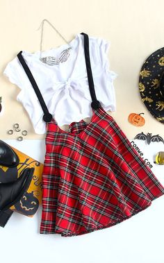 Knot Front Crop Top With Plaid Skirt