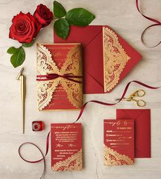 Gold and red laser cut wedding invitations 01/gnlaser/z  #redwedding #goldwedding