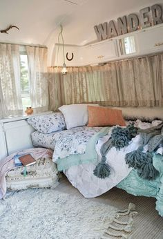 GORGEOUS, FAMILY-FRIENDLY AIRSTREAM INSPIRATION: Blogger and mom, Sarah Schneider turned an old Airstream into a beautifully decorated haven for her whole family. See her best crafts, decorating hacks, storage solutions, and decor ideas for small living, here! Get ready for some major interior decorating inspiration for kitchens, living rooms, outdoor living, bedrooms, and bathrooms ahead!
