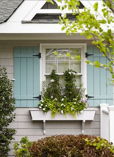 House of Turquoise: Jules Duffy Designs Love these shutters.style and color (don't like the plants in window box) Design Exterior, Exterior Paint Colors, Exterior House Colors, Paint Colors For Home, Paint Colours, Grey Exterior, Exterior Shutter Colors, House Of Turquoise, Light Turquoise