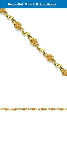 Bezel-Set Oval Citrine Bracelet in 14K Yellow Gold (7x5 mm). This elegant 14K yellow gold link bracelet features eight 7x5mm genuine natural citrines all beautifully set in a bezel setting. Surprise your loved one with this stunning November birthstone bracelet.