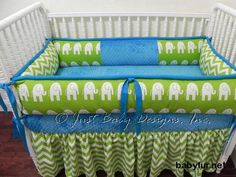 Custom Crib Bedding Set Cameron - Lime Elephants and Chevron with Turquoise - http://babyfur.net/custom-crib-bedding-set-cameron-lime-elephants-and-chevron-with-turquoise.html