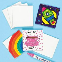 Make tea breaks fun! Quality square ceramic tile coasters to decorate and personalise with our paint and deco pens. They'll also make a great gift for family and friends!