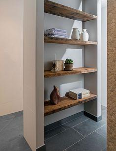 Discover our exclusive, bespoke solid wood furniture. Bathroom Design Inspiration, Bathroom Interior Design, Solid Wood Furniture, Home Furniture, Regal Bad, Hanging Room Dividers, Tiny House Nation, Shelving Design, Cabinet Design