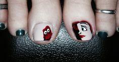 A bit of Ariel and Sebastian make for happy toes! #nailartbykrystle #imagineesthetique #pointeclaire #montreal #pedicure #manicure #nailart #prettytoes #opi #disney #freehandart #creative