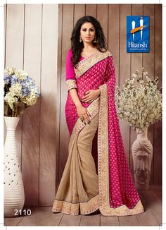 Buy Pink & Cream Georgette Designer Saree with blouse piece Online