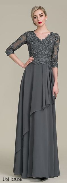 A-Line/Princess V-neck Floor-Length Chiffon Lace Mother of the Bride Dress With Beading Sequins Cascading Ruffles - Mother of the Bride Dresses - JJ's House Mob Dresses, Stylish Dresses, Casual Dresses, Bride Dresses, Vestidos Fashion, Fashion Dresses, Fashion Fashion, Vestidos Mob, Marine Uniform