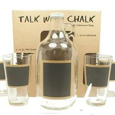 Growler + 4 Pint Glasses  w/ chalkboard paint for labelling