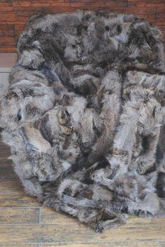 Echte Pelz Waschbär Natur Plezdecke, Tagesdecke, Felldecke, Fell