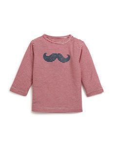 T-shirt rayé à manches longues imprimé moustache Monoprix, 9,90€