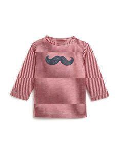 T-shirt rayé à manches longues imprimé moustache