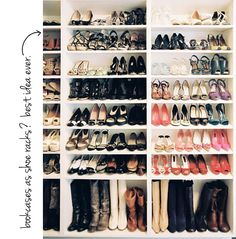 Use cheap, white book cases as shoe racks - would love to do this for our basement since we do the Asian thing and leave our shoes at the door, not in the closets