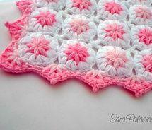 """""""Flowers in the clouds"""" Puff flower blanket, Crochet pattern baby, patterns for babies Crochet Puff Flower, Crochet Flower Patterns, Crochet Blanket Patterns, Baby Blanket Crochet, Crochet Flowers, Knitting Patterns, Crochet Butterfly, Afghan Blanket, Crochet Blankets"""