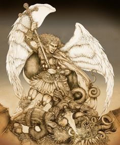 """from the artist;     """"Archangel St Michael's Victory over the Devil  Northern Renaissance Influences"""""""