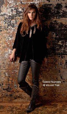 Double D Ranch~ Three Feather Velvet Top