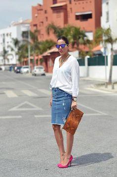 denim pencil-length skirt + bright heels