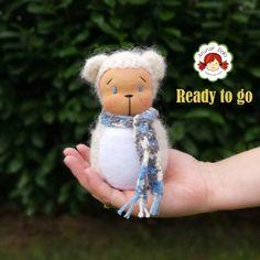 Waldorf animal, Waldorf inspired polar bear figure, Waldorf doll, pocket doll, gift for kids Mohair Yarn, Polar Bear, Gifts For Kids, Pocket, Dolls, Christmas Ornaments, Inspired, Handmade, Etsy