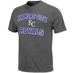 Majestic Kansas City Royals Cooperstown Collection Heart and Soul Short Sleeve T-Shirt - Charcoal - $17.59