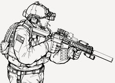 So had asked me if i could draw something similar to my previous drawing fav.me/d6s7xsr but in a slightly different angle and armed with an LWRC M6A2. And this is the result. This isn't final as I ...