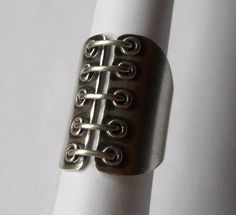 Corset Ring, Made to Order, Sterling Silver, cocktail ring on Etsy, $130.00
