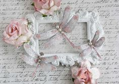 New to my shop are my signature style of Shabby Chic Dragonflies. They are such a pretty way to embellish and have dimension to each page or