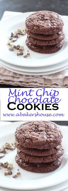 Mint Chip Chocolate Cookies are the first recipe I think of when I see the seasonalAndes crème de methe baking chips in the store. Chocolate and mint, what's not to like? Made by Holly Baker at www.abakershouse.com