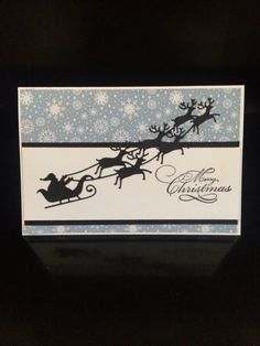 Merry Christmas card made using Impression Obsession Santa in Sleigh die. Christmas Cards 2017, Christmas Card Crafts, Merry Christmas Card, Xmas Cards, Holiday Cards, Paper Cutting, Impression Obsession Cards, Pinterest Cards, Winter Karten