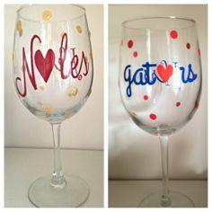FSU noles or UF gators wine glass. Great gift by SEVENTHandJ, $15.00